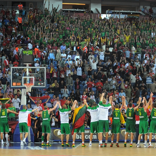 Team Lithuania celebrating with fans