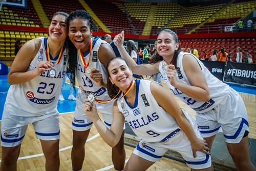 12 Rafaela Laleoglou (GRE), 19 Christina Anastasopoulou (GRE), 13 Cynthia Ezeja (GRE), 23 Eleni Farrou (GRE)