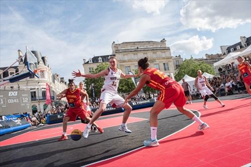 10 Aleksandra Stolyar (RUS), 15 Irene San Román (ESP), 10 Aitana Cuevas Mediavilla (ESP), 11 Anastasia Logunova (RUS), Spain vs Russia