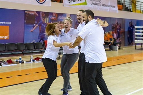 The Austrian coaching staff celebrate