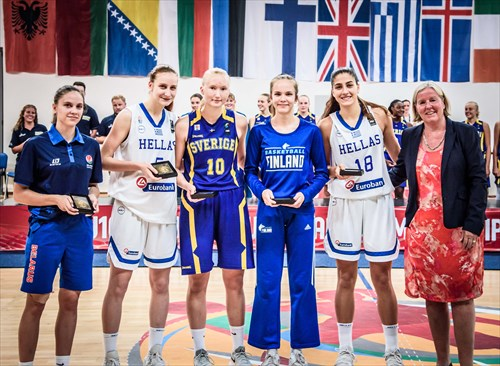 All-Star Five Iryna Venskaya, Eleni Bosgana, Matilda Ekh, Janette Aarnio and Ioanna Chatzileonti