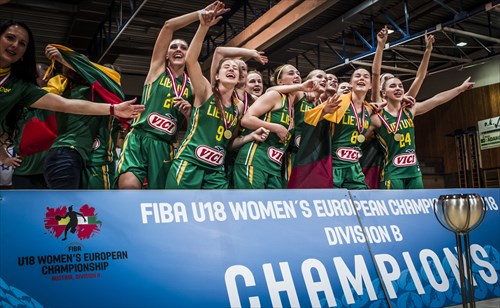 Lithuania celebrate their title