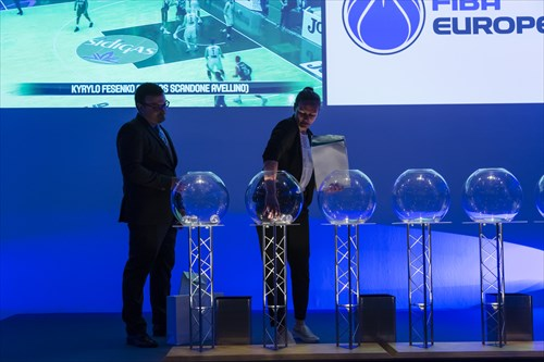 FIBA Head of Competitions Europe Ljubomir Mandic assists with the Draw