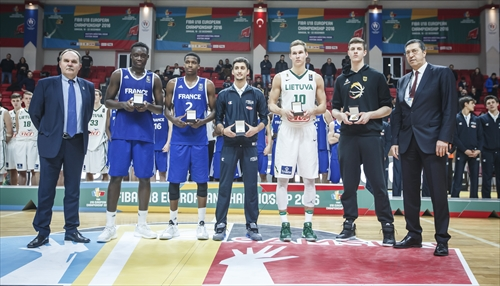 All-Star Five: Sekou Doumbouya (FRA), Frank Ntilikina (FRA), Davide Moretti (ITA), Tadas Sedekerskis (LTU), Isaiah Hartenstein (GER)