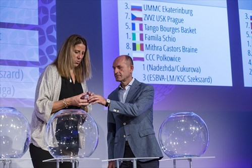FIBA Europe Board member Ivan Bodrogvary assists with the Draw for the Regular Season