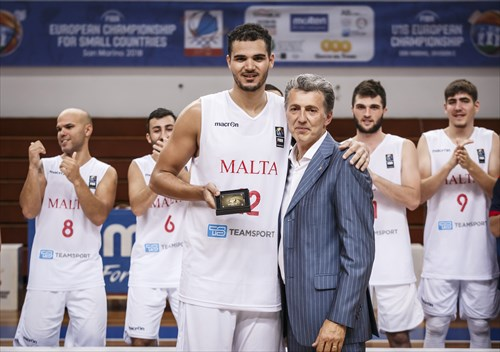 Roberto Berardi (Vice-President San Marino Basketball Federation) congratulates Aaron Falzon (MLT) on his All-Star Five nomination