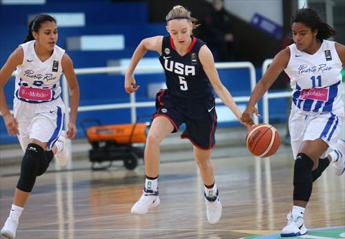 9 Abeliz Rodriguez (PUR), 11 Maria Aviles (PUR), 5 Paige Bueckers (USA)