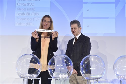 FIBA Special Projects Manager Betty Cebrian and Goran Radonjic of the French Basketball Federation assist with the Draw