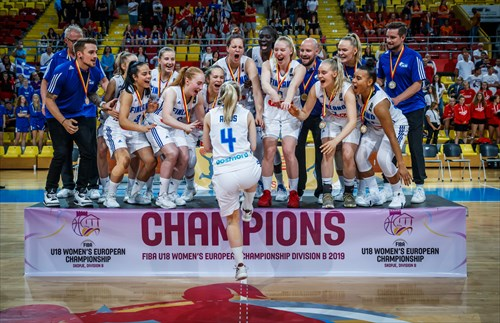 Finland celebrating winning FIBA U18 Women B-division