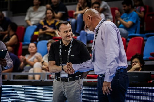 FIBA Crew Chief Commissioner Jovan Skundric and Romanian Basketball Federation President, Horia Paun