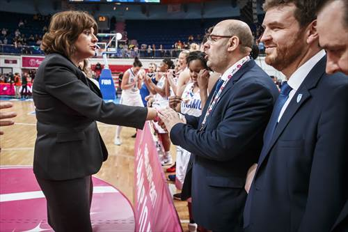 FIBA Europe Board Member and President of the FIBA Europe Women's Commission Ms Carmen Tocala present Lucas Mondelo with his medal