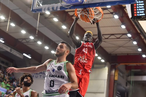 BC Oostende's 6-9 forward, Amar Sylla had an adequate showing in his team's loss to Dinamo Sassari. (Photo: Basketball Champions League.)