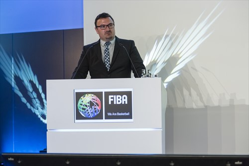 FIBA Head of Competitions Europe Ljubomir Mandic speaks at the Draw