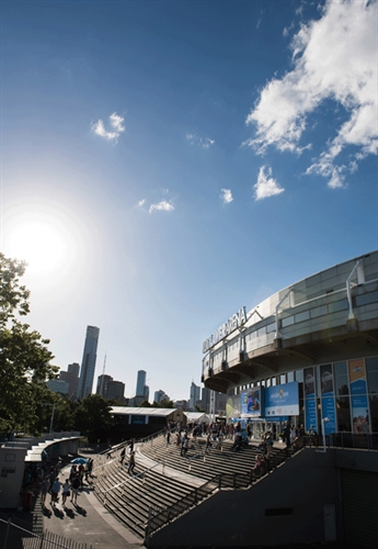 Rod Laver Arena with the city skyline