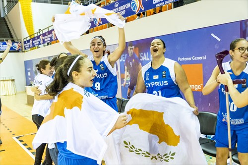 7 Ioanna Kyprianou (CYP), 9 Panagiota Kyriakou (CYP), 21 Demetra Papalla (CYP), Cyprus team celebrating the win of the tournament