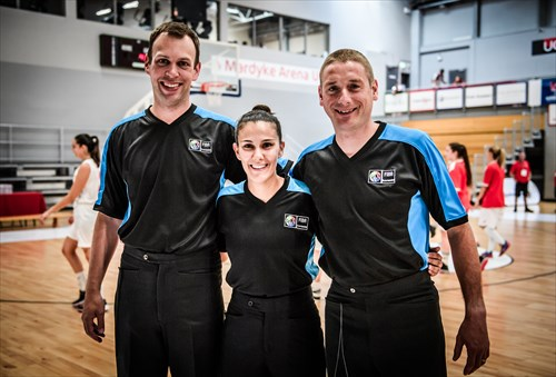 Referees, from left, Per-Kristian Larsen, Maria Ignatiou and Simon Unsworth