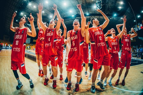 Players of Serbia celebrate after they became European U18 Champions