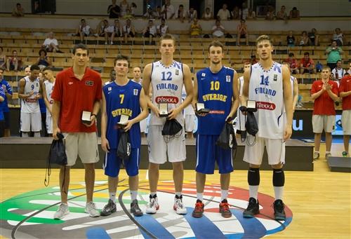 12 Thor Alexander BJERREGARD MADSEN (Finland); 14 Ozan Anton ODABASI (Finland); 10 Johan Jerker LÖFBERG (Sweden); 7 Valter Axel Olle LINDSTRÖM (Sweden), 2015 FIBA U20 European Championship Division B