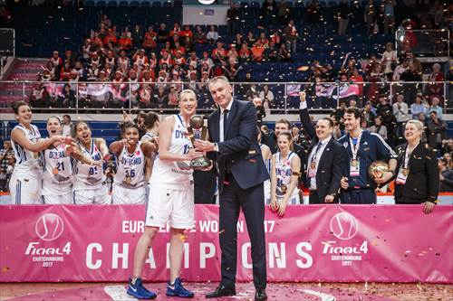 FIBA Executive Director Europe Kamil Novak presents Tatiana Vidmer with the trophy