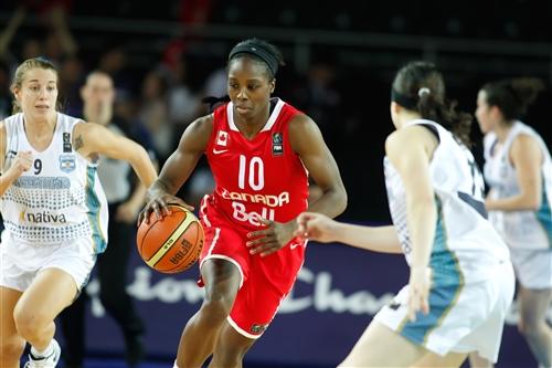 Alisha  TATHAM (Canada) drives the ball in the heart of Argentina's defense