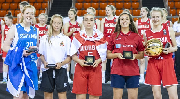 The All-Star Five: Sophie Loughran (Scotland); Hemance Marti (Monaco); Nino Gadelia (Georgia); Sasha Lecuyer (Malta)