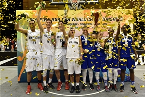 New Zealand\'s men & France\'s women (2015 FIBA 3x3 U18 World Championships Winners)